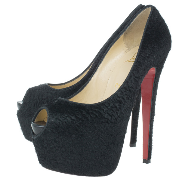 Christian Louboutin Black Pony Hair Highness Platform Pumps Size 37.5