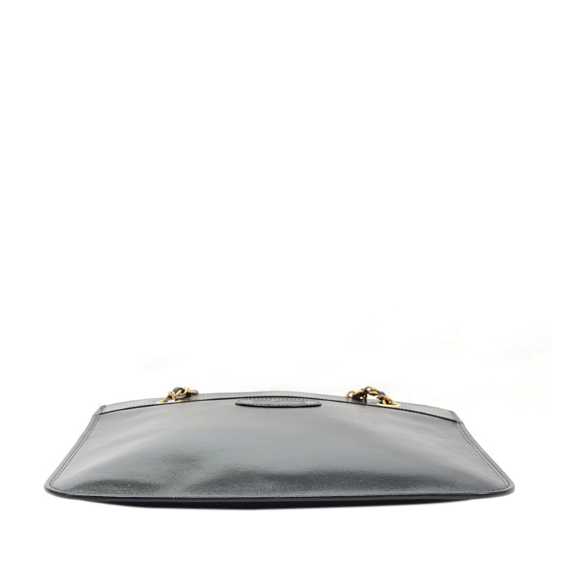 Chanel Black Leather Flat Shoulder Tote
