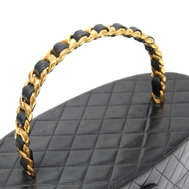 Chanel Black Quilted Leather Oval Vanity Large Cosmetic Case