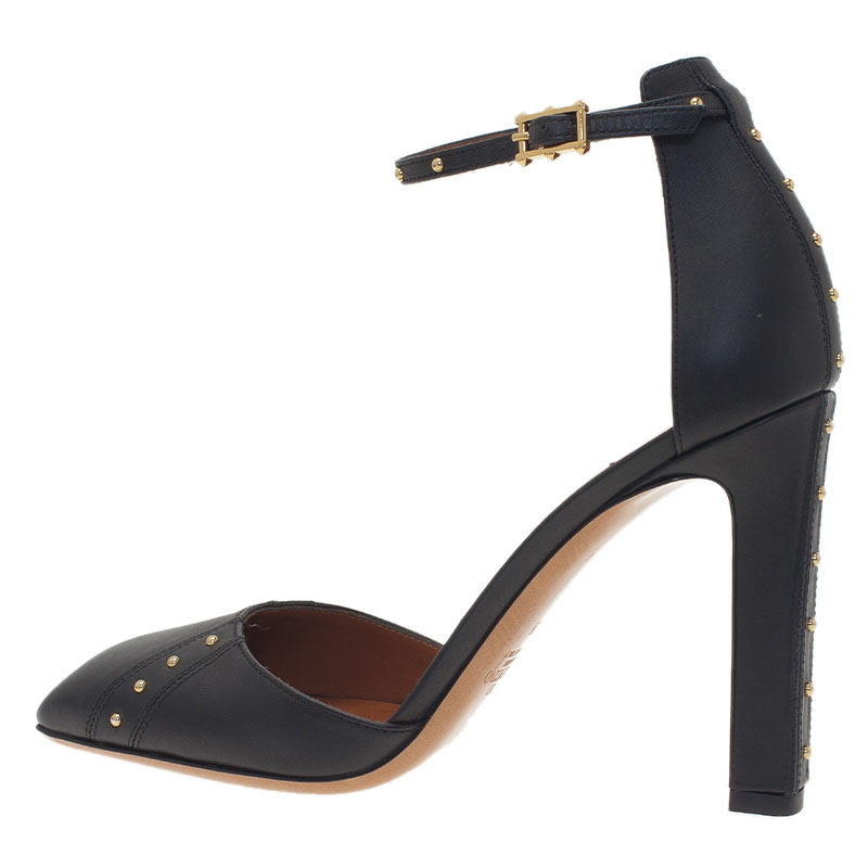 Valentino Black Leather Studded Ankle Strap Pumps Size 38