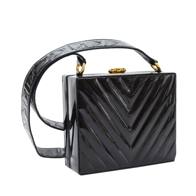 Chanel Black Patent V-Quilted Chevron Crossbody
