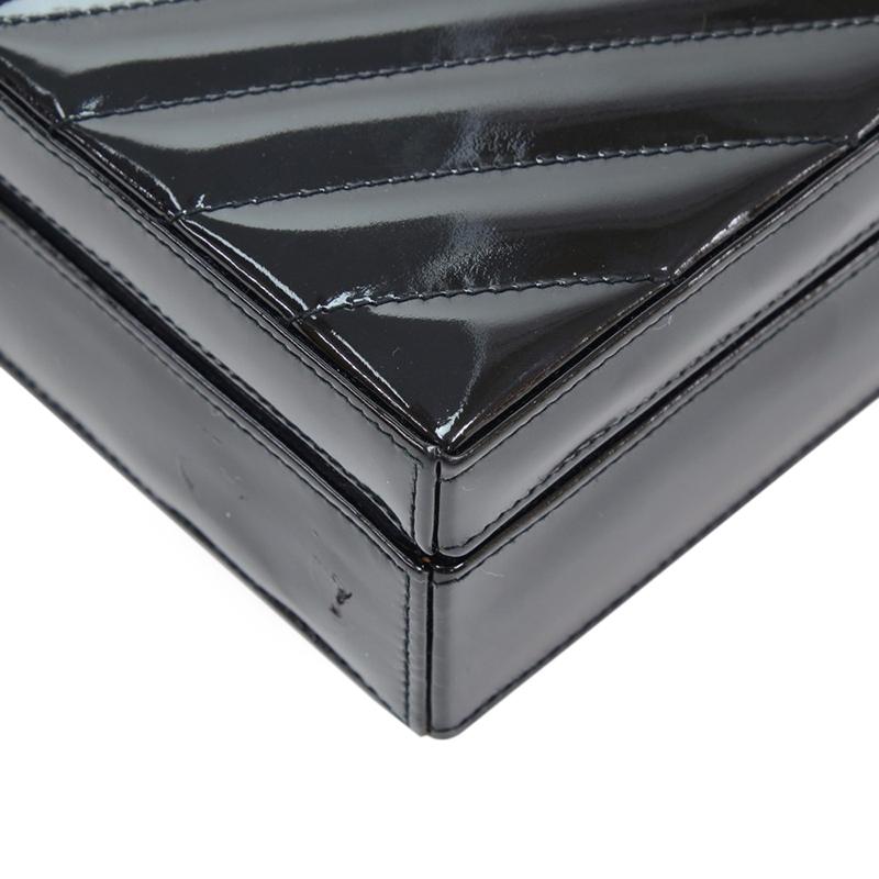 Chanel Black Patent V-Quilted Chevron Crossbody