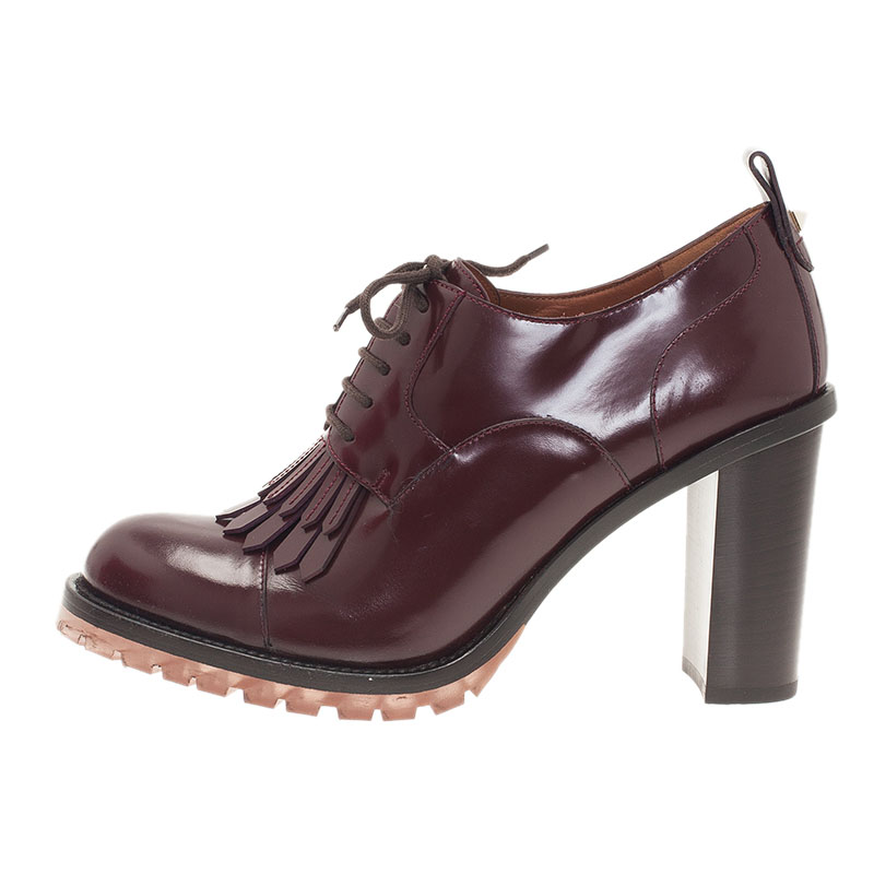 Valentino Burgundy Leather Fringe Derby Oxford Booties Size 38.5
