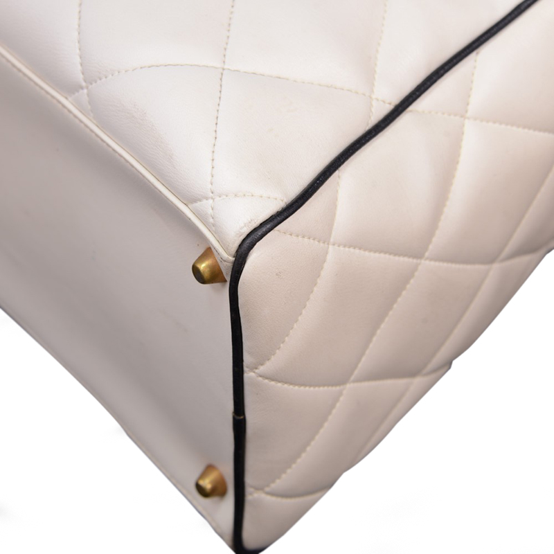 Chanel White Lambskin Quilted Large Logo Boston
