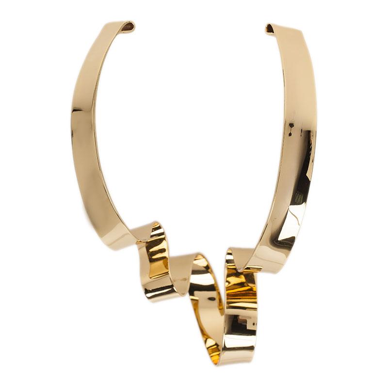 Alexis Bittar Large Golden Ribbon Collar Necklace