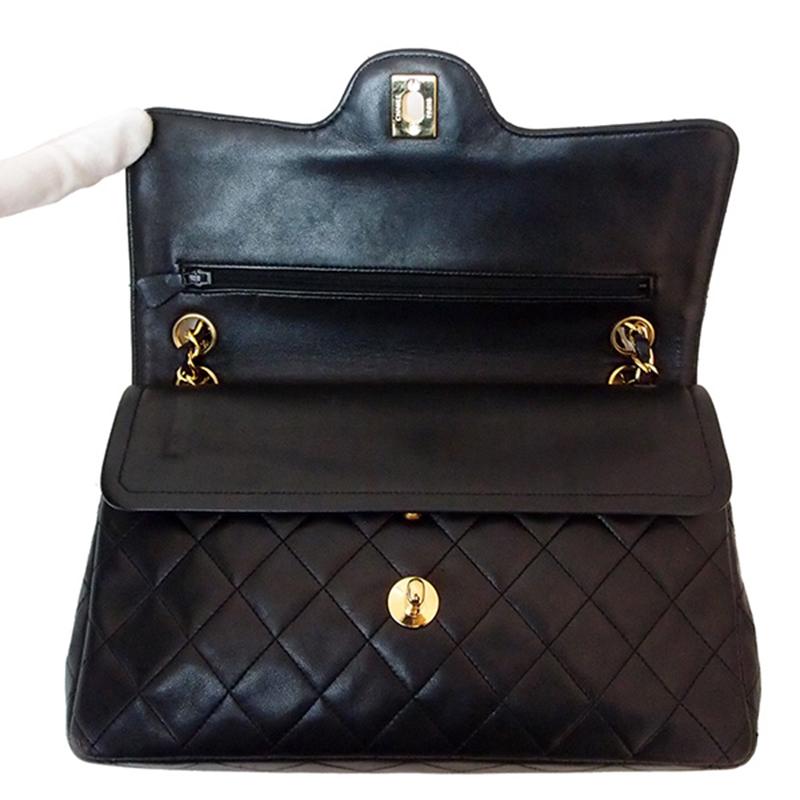 Chanel Vintage Black Lambskin W Matelasse 25 Shoulder Bag