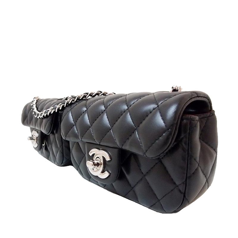 Chanel Black Double Mini Matelasse Twin Chain Shoulder bag