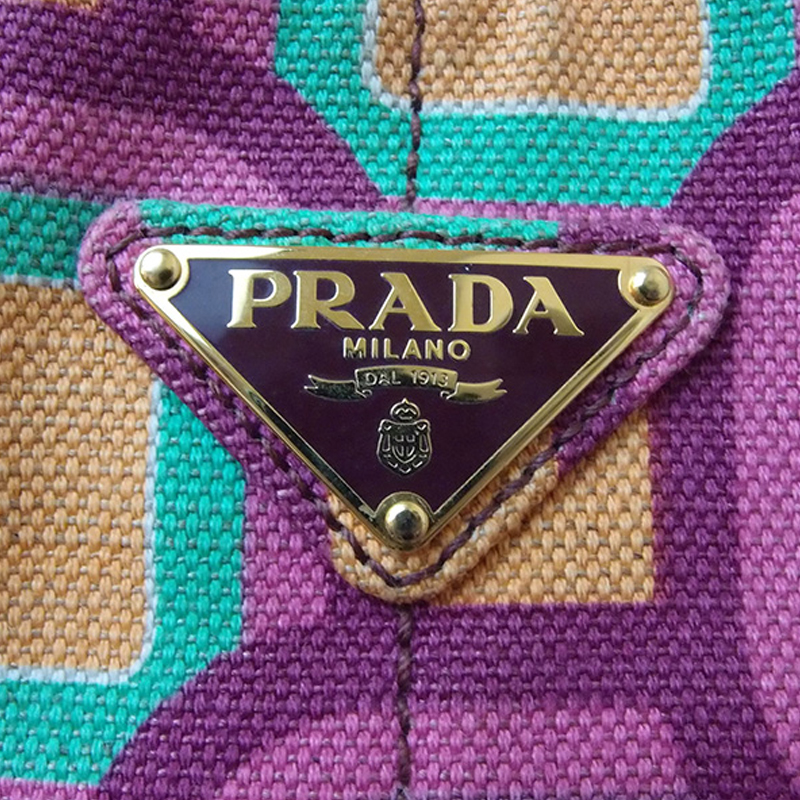 Prada Canvas Multicolor Canapa Tote