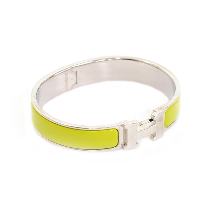 Hermes Clic Clac H Neon Green Palladium Plated Bracelet