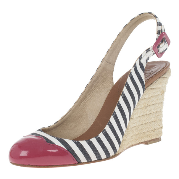 Christian Louboutin Striped Chus Cap Toe Espadrille Slingback Wedges Size 36