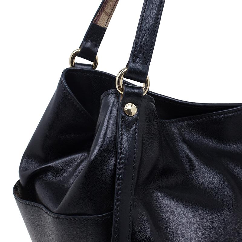 Burberry Black Soft Leather Medium Canterbury Shoulder Bag