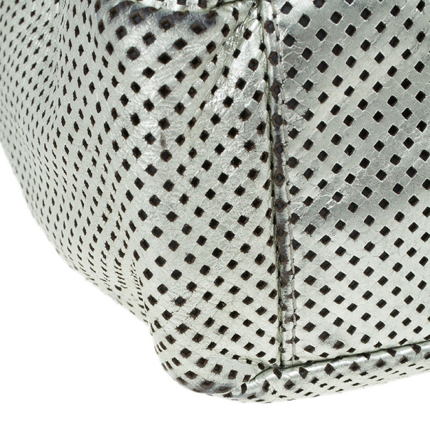 Chanel Silver Metallic Leather Perforated Rodeo Drive Grand Shopping Hobo