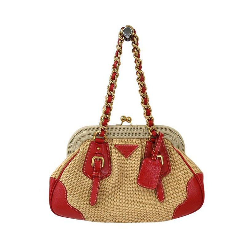 prada brown leather bag - Prada Red / Beige Woven Straw and Leather Satchel Shoulder Bag ...