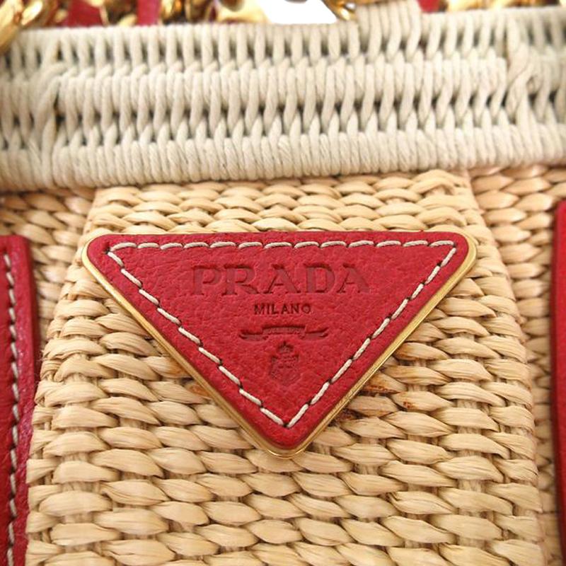 small pink prada handbag - Prada Red / Beige Woven Straw and Leather Satchel Shoulder Bag ...