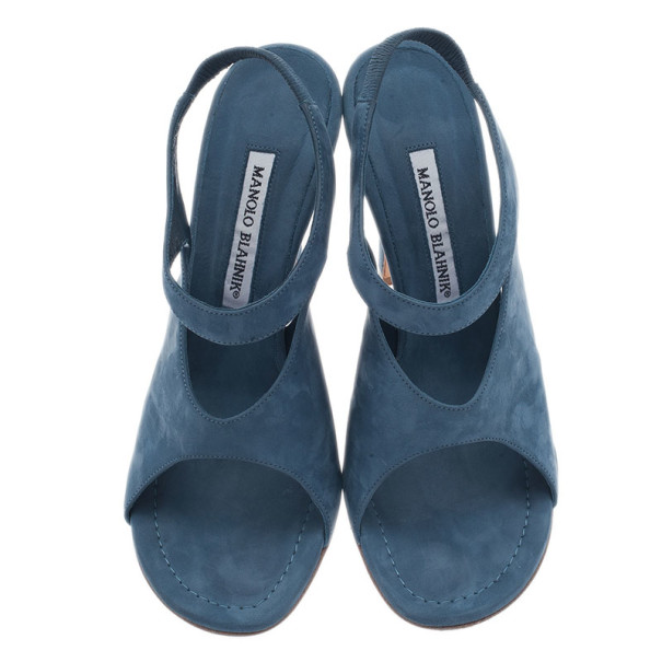Manolo Blahnik Blue Suede Cutout Slingback Sandals Size 39