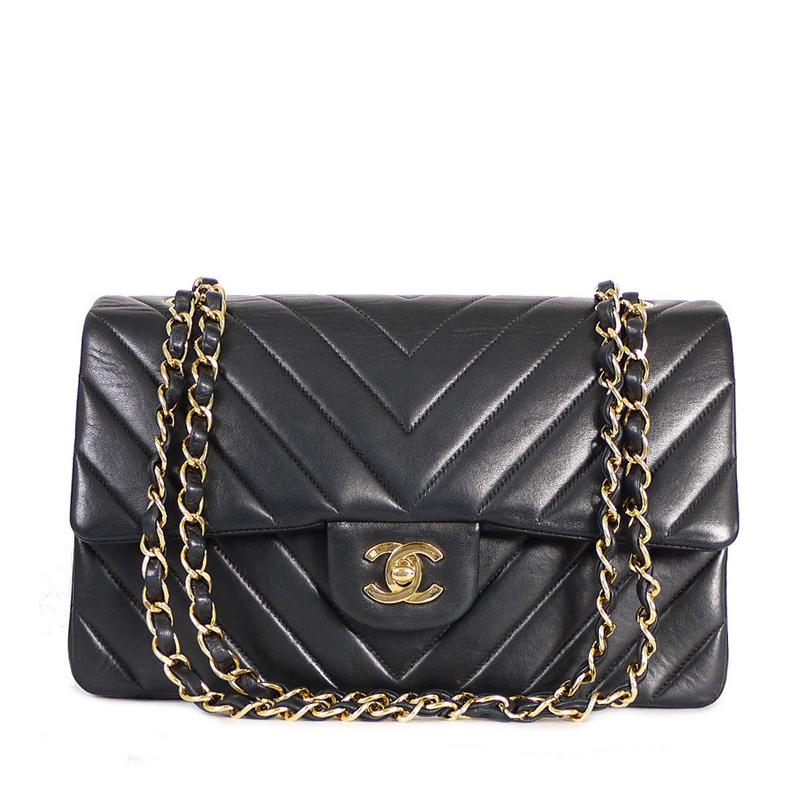 Chanel Black Chevron Quilted Lambskin Leather Medium