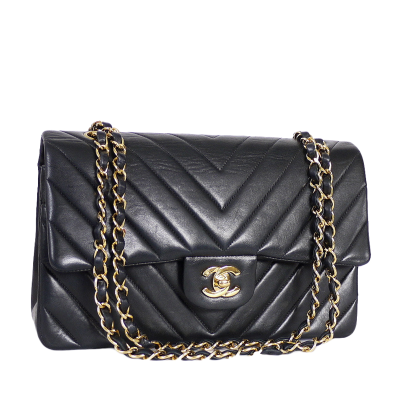 Chanel Black Chevron Quilted Lambskin Leather Medium