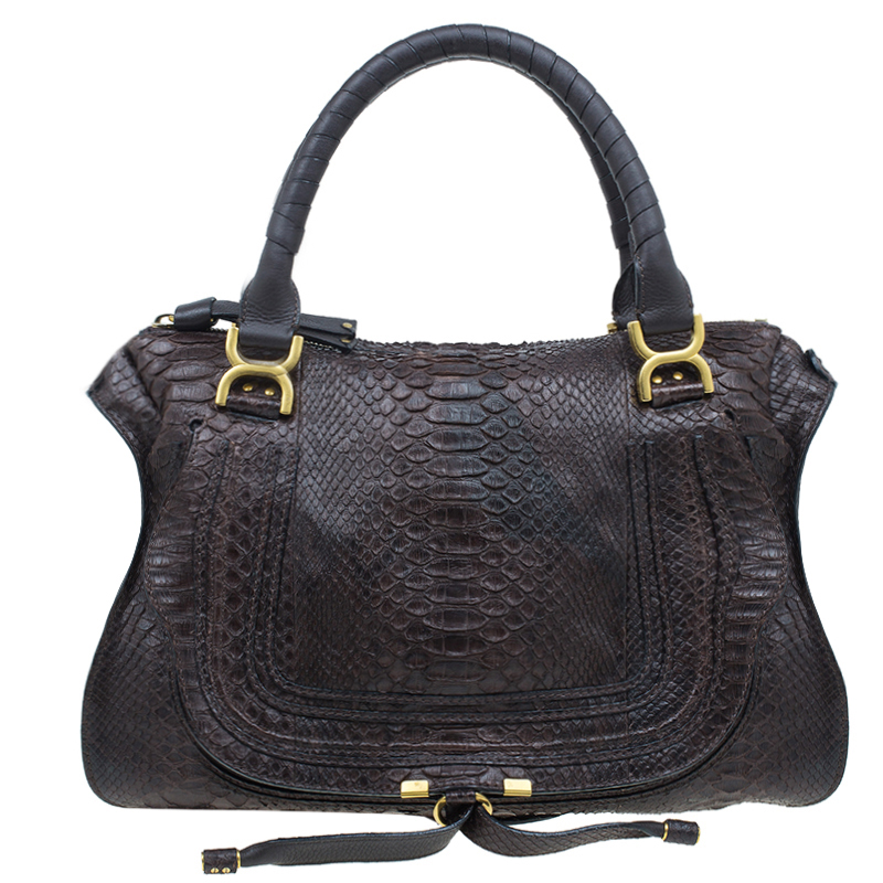 Chloe Brown Python Large Marcie Satchel Bag