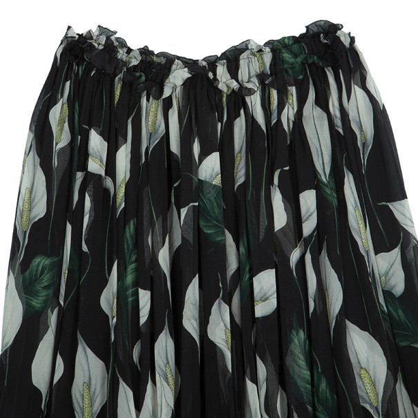 Dolce and Gabbana Floral Silk Chiffon Skirt M
