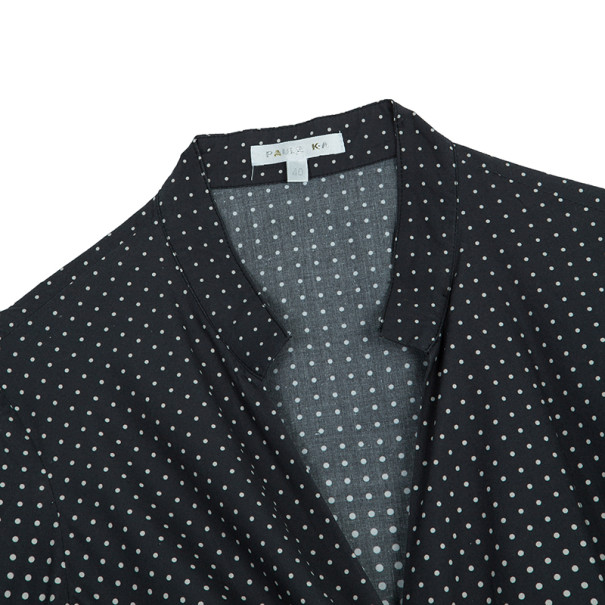 Paule Ka Black Polka Dot Wrap Dress S
