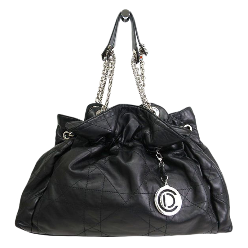 Dior Black Quilted Cannage Lambskin Leather Le Trente Shoulder Bag - Buy &  Sell - LC