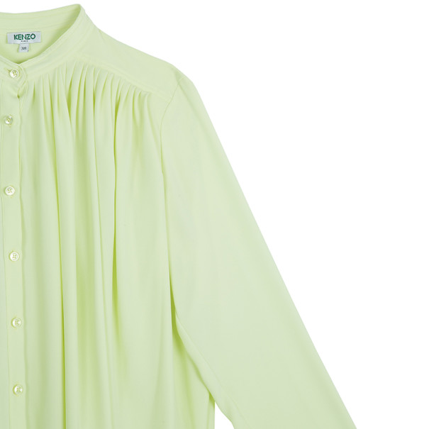 Kenzo Pleated Silk Yellow Top M