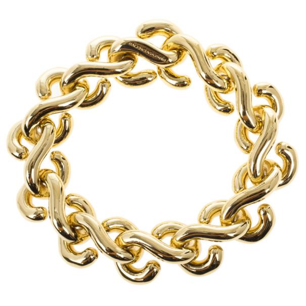 Balenciaga Gold Tone Large S-Chain Bracelet 24CM