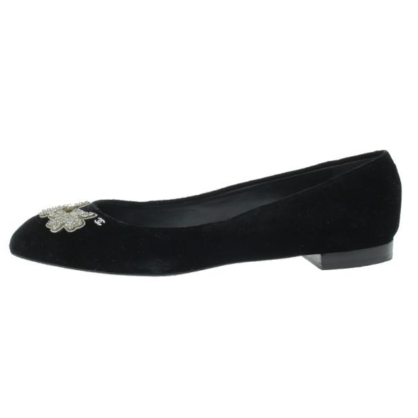 Chanel Black Velvet Crystal Bow Ballet Flats Size 40.5