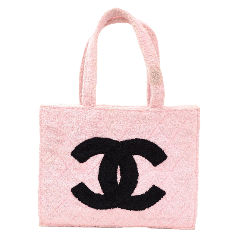 Chanel Vintage Pink And Black Terry Cloth Cc Xl Tote 49129 At Best Price Tlc