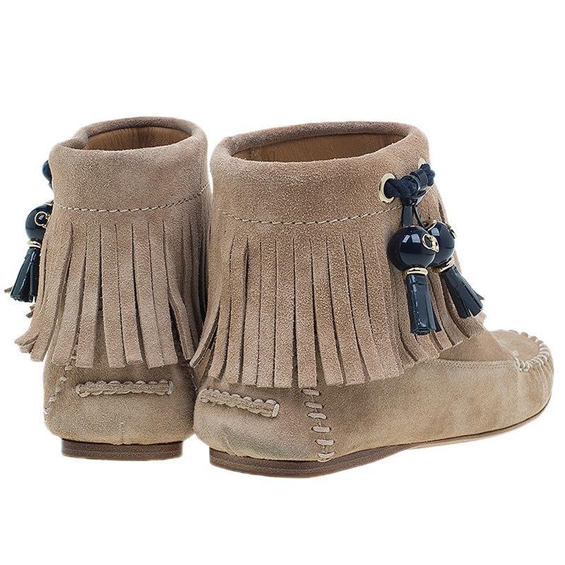 Dior Beige Suede Fringe Booties Size 37
