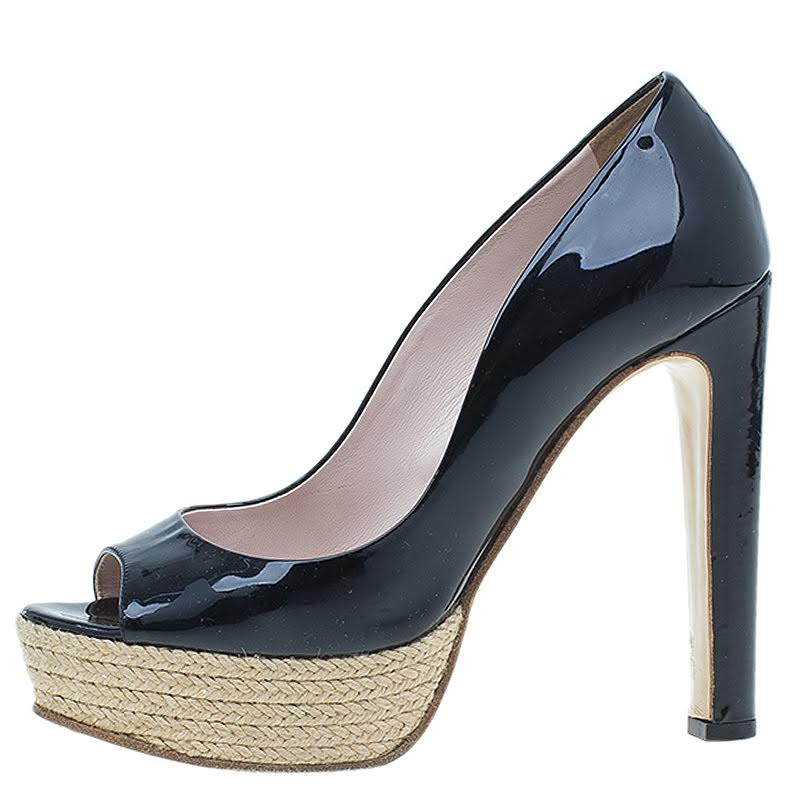 Miu Miu Black Patent Open Toe Pumps Size 36