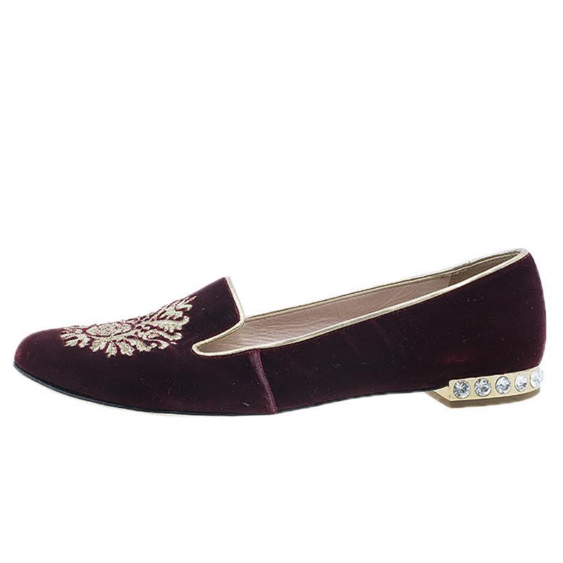Miu Miu Burgundy Velvet Crest Embellished Smoking Slippers Size 38