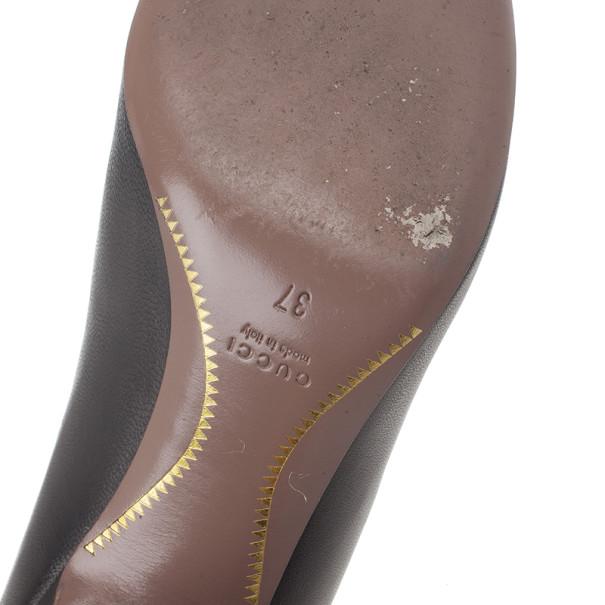 Gucci Black Leather Horsebit Detail Pumps Size 37
