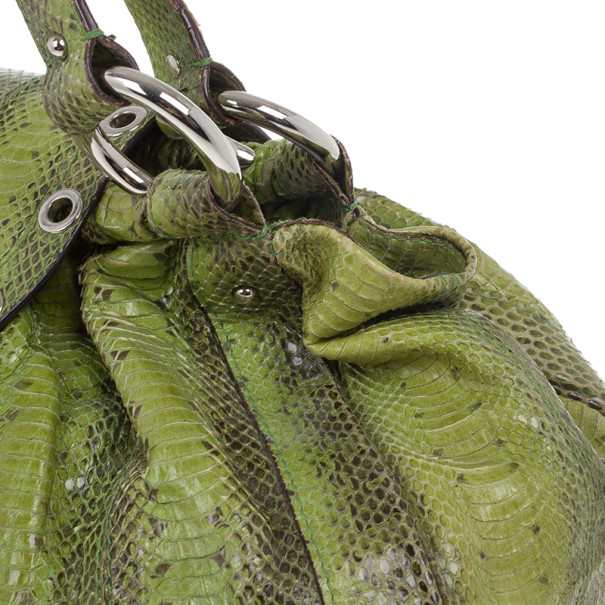 Dolce and Gabbana Green Snakeskin East West Bag