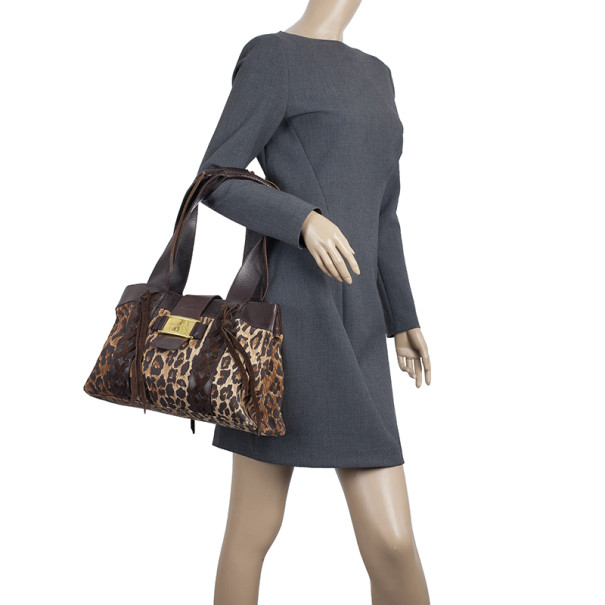 Dolce and Gabbana Animal Print Canvas Small Tote