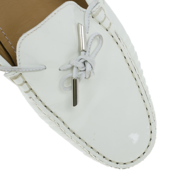 Tod's for Ferrari White Patent Loafers Size 40