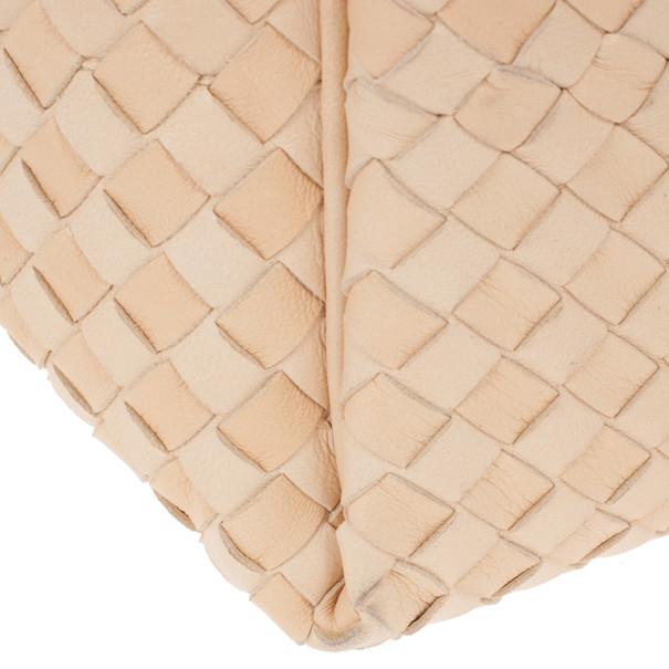 Bottega Veneta Cream Leather Intrecciato Hobo