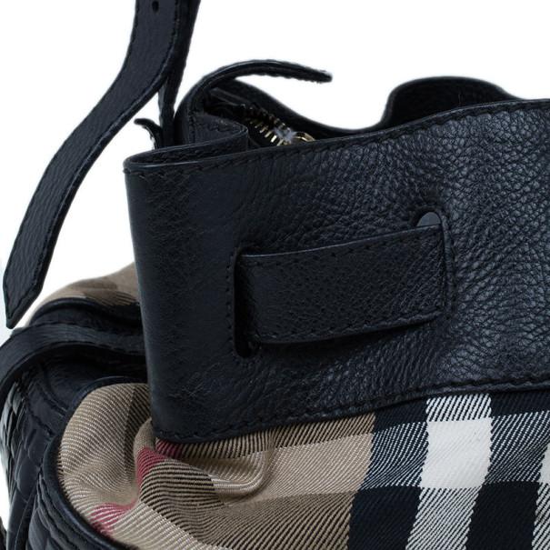 Burberry Nova Check Canvas and Black Leather Shoulder Bag