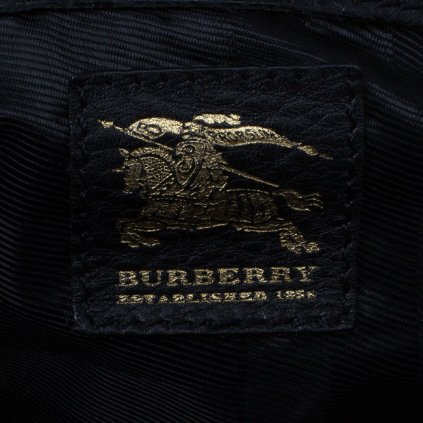 Burberry Nova Check Canvas and Black Leather Shoulder Bag