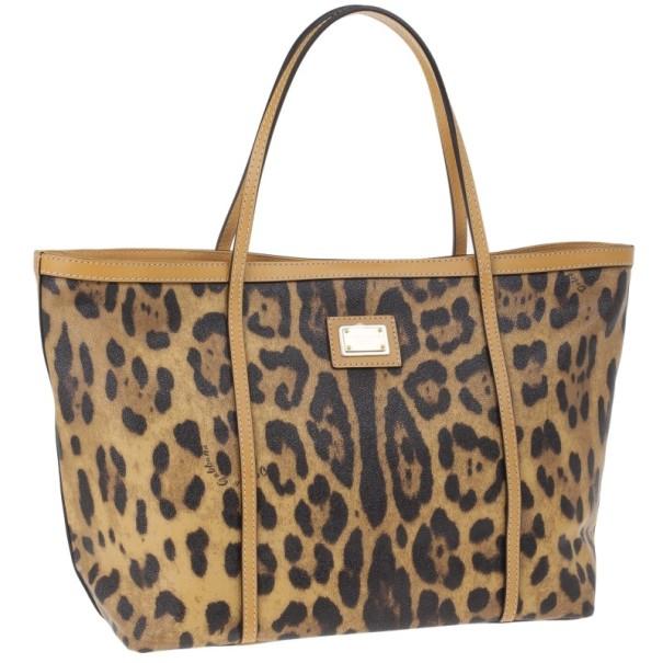 Dolce and Gabbana Leopard Print Miss Escape Tote