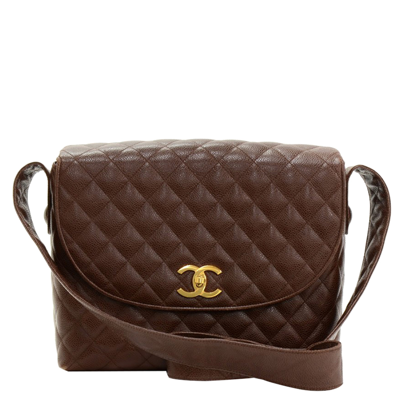 Chanel Vintage Dark Brown Quilted Caviar Flap Shoulder Bag - Buy ...