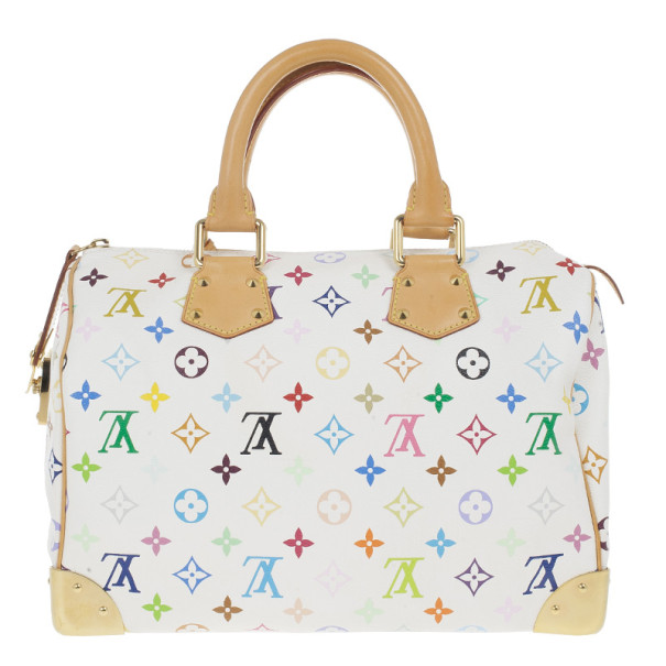 Louis Vuitton White Multicolor Canvas Speedy 30