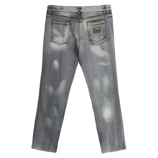 Dolce and Gabbana Grey Distressed Denim Jeans L