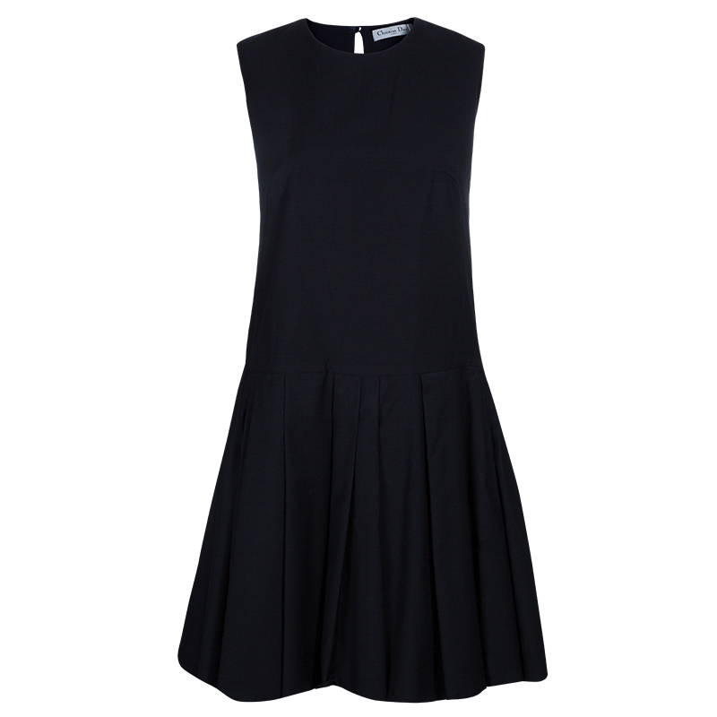 Dior Black Drop Waist Pleated Dress M
