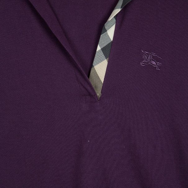 Burberry Brit Purple Long Sleeve Polo Top L