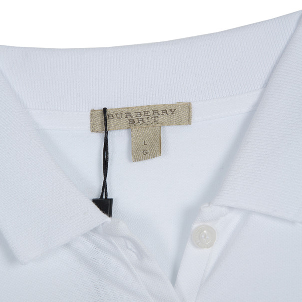 Burberry Brit Cream Checked Cuff Polo Top L