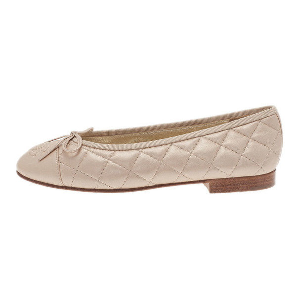 Chanel Gold Quilted Leather Ballet Flats Size 35
