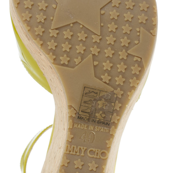 Jimmy Choo Lime Green Patent Pania Cork Wedges Sandals Size 40