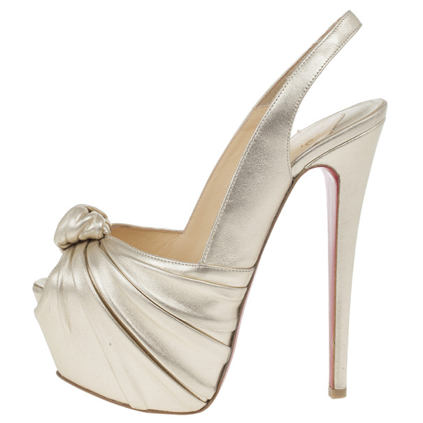 Christian Louboutin Metallic Leather Miss Benin Knotted Platform Slingback Sandals Size 37