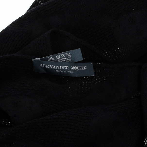 Alexander McQueen Black Silk and Wool Skull Scarf